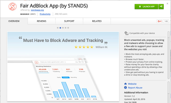 Stands Fair Adblock App Store Screenshot